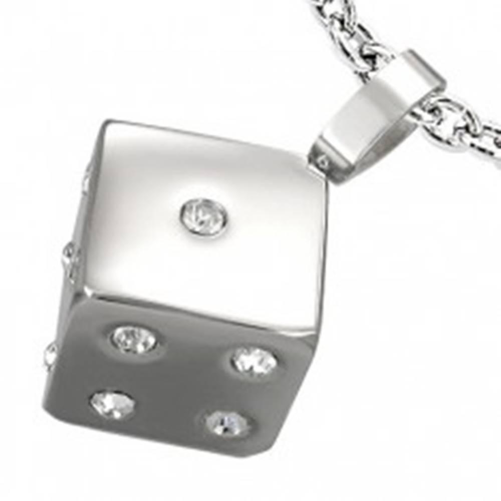 Šperky eshop Prívesok z ocele 316L, kocka so vsadenými čírymi zirkónmi