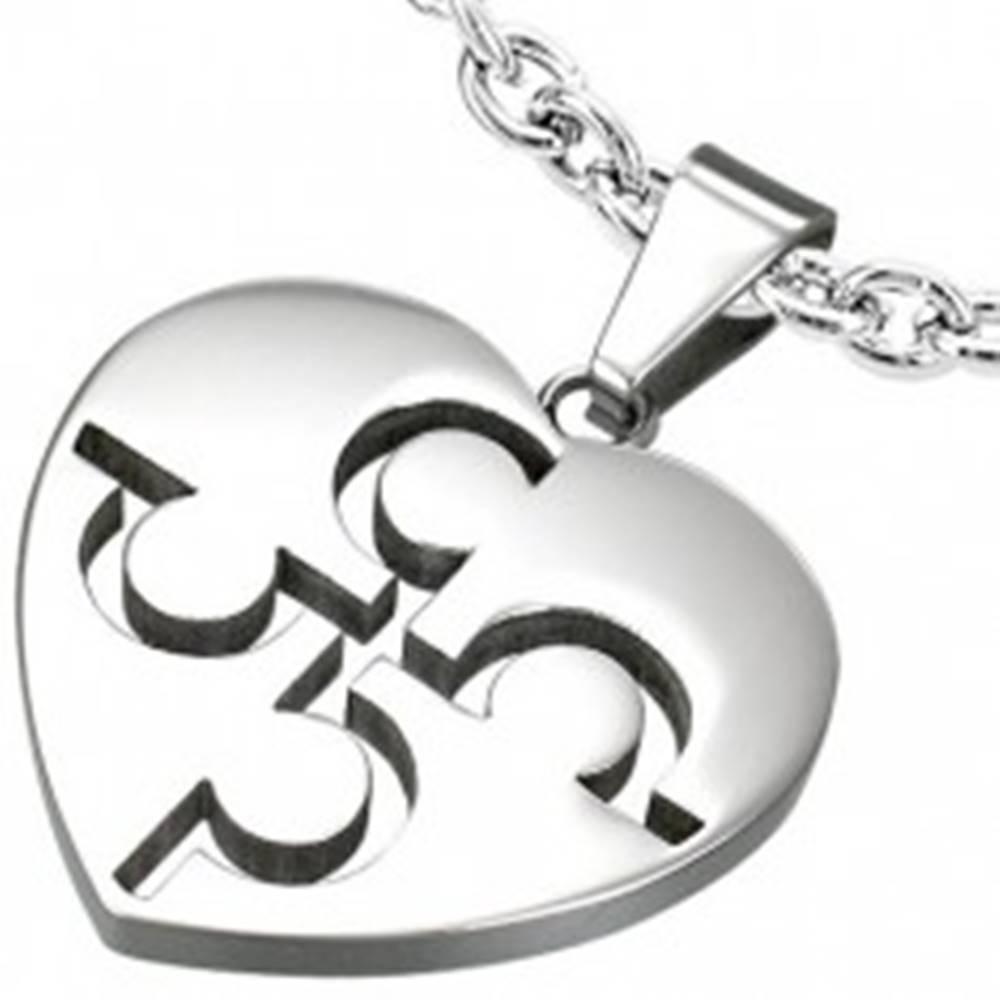 Šperky eshop Prívesok z ocele - puzzle srdce striebornej farby