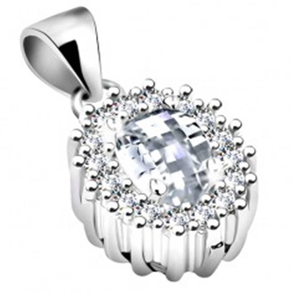 Šperky eshop Prívesok zo striebra 925, číry zirkónový ovál s ligotavou kontúrou, ródiovaný