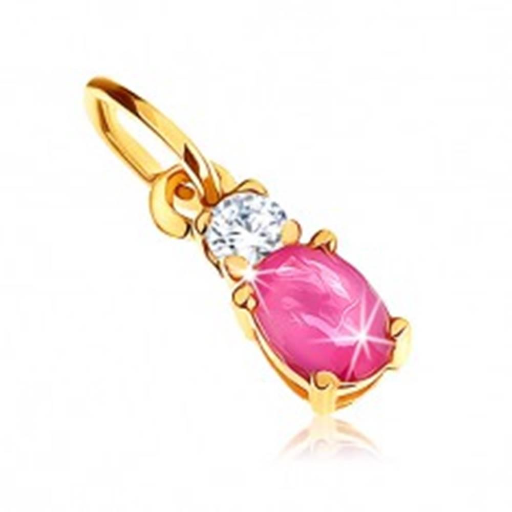 Šperky eshop Prívesok zo žltého 9K zlata - oválny tmavoružový rubín, číry zirkón