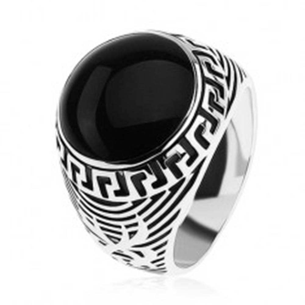 Šperky eshop Prsteň zo striebra 925, čierny glazúrovaný kruh, ornament gréckeho kľúča - Veľkosť: 54 mm