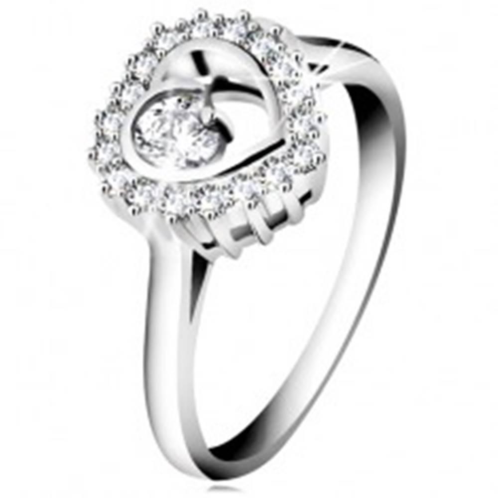 Šperky eshop Prsteň zo striebra 925, ródiovaný, číry obrys srdca s okrúhlym zirkónom vo vnútri - Veľkosť: 47 mm