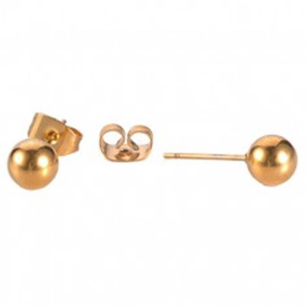 Šperky eshop Puzetové náušnice z ocele 316L - guľôčky medenej farby - Hlavička: 4 mm