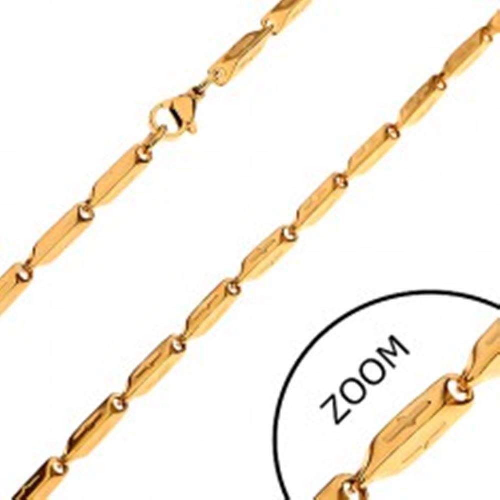 Šperky eshop Retiazka z chirurgickej ocele zlatej farby, skosené hranoly so zárezmi, 3 mm