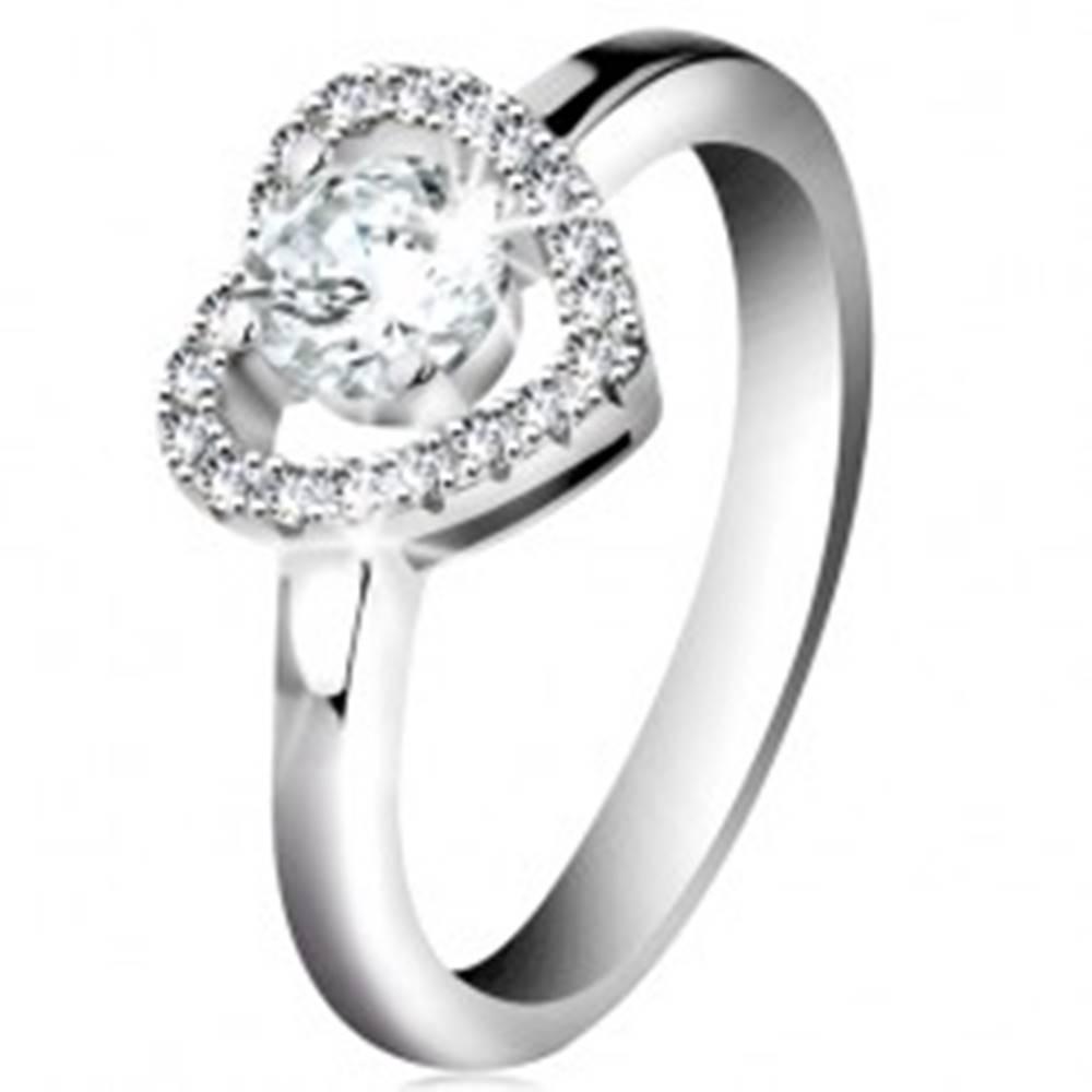 Šperky eshop Ródiovaný prsteň, striebro 925, ligotavá kontúra srdca a okrúhly zirkón čírej farby - Veľkosť: 46 mm