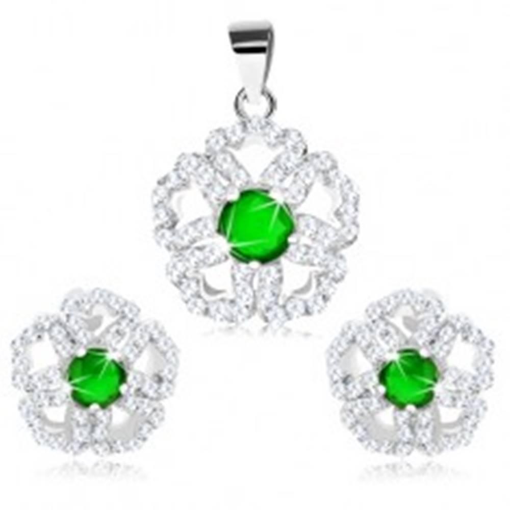 Šperky eshop Set zo striebra 925 - prívesok a náušnice, ligotavý kvet so zeleným stredom