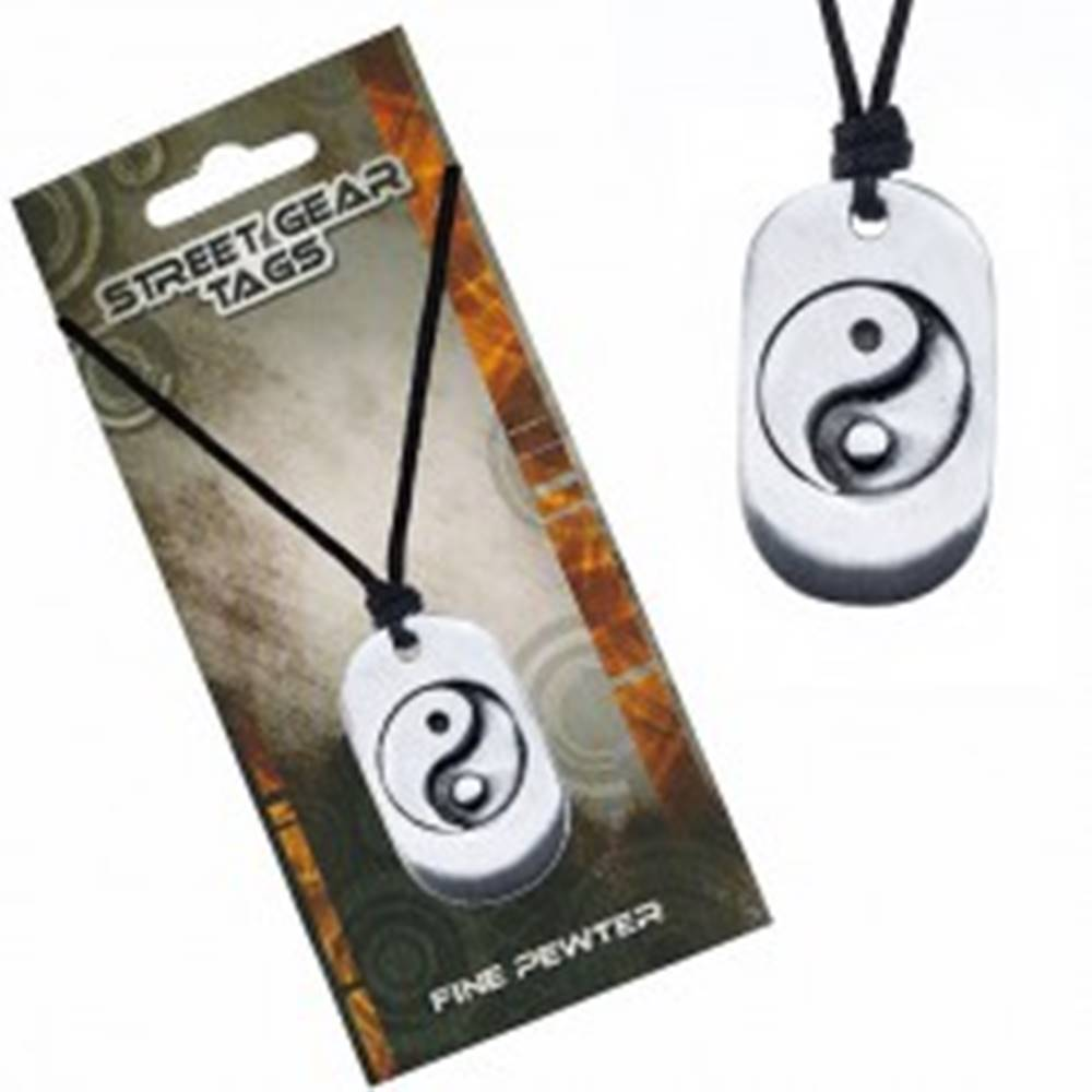 Šperky eshop Šnúrkový náhrdelník, kovová známka so symbolom Jin Jang