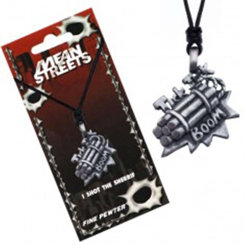 Šperky eshop Šnúrkový náhrdelník, prívesok bomby, nápis Tick Tick Boom