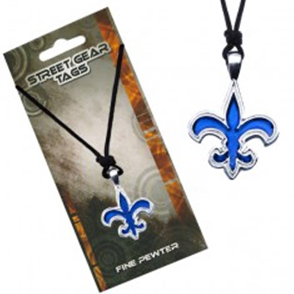 Šperky eshop Šnúrkový náhrdelník s modrým príveskom Fleur de Lis