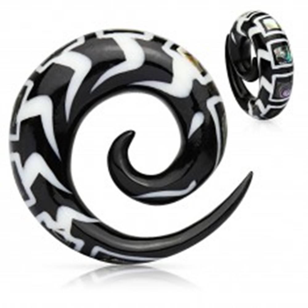 Šperky eshop Špirálový vzorovaný expander do ucha z organického materiálu, úlomky mušle - Hrúbka: 10 mm
