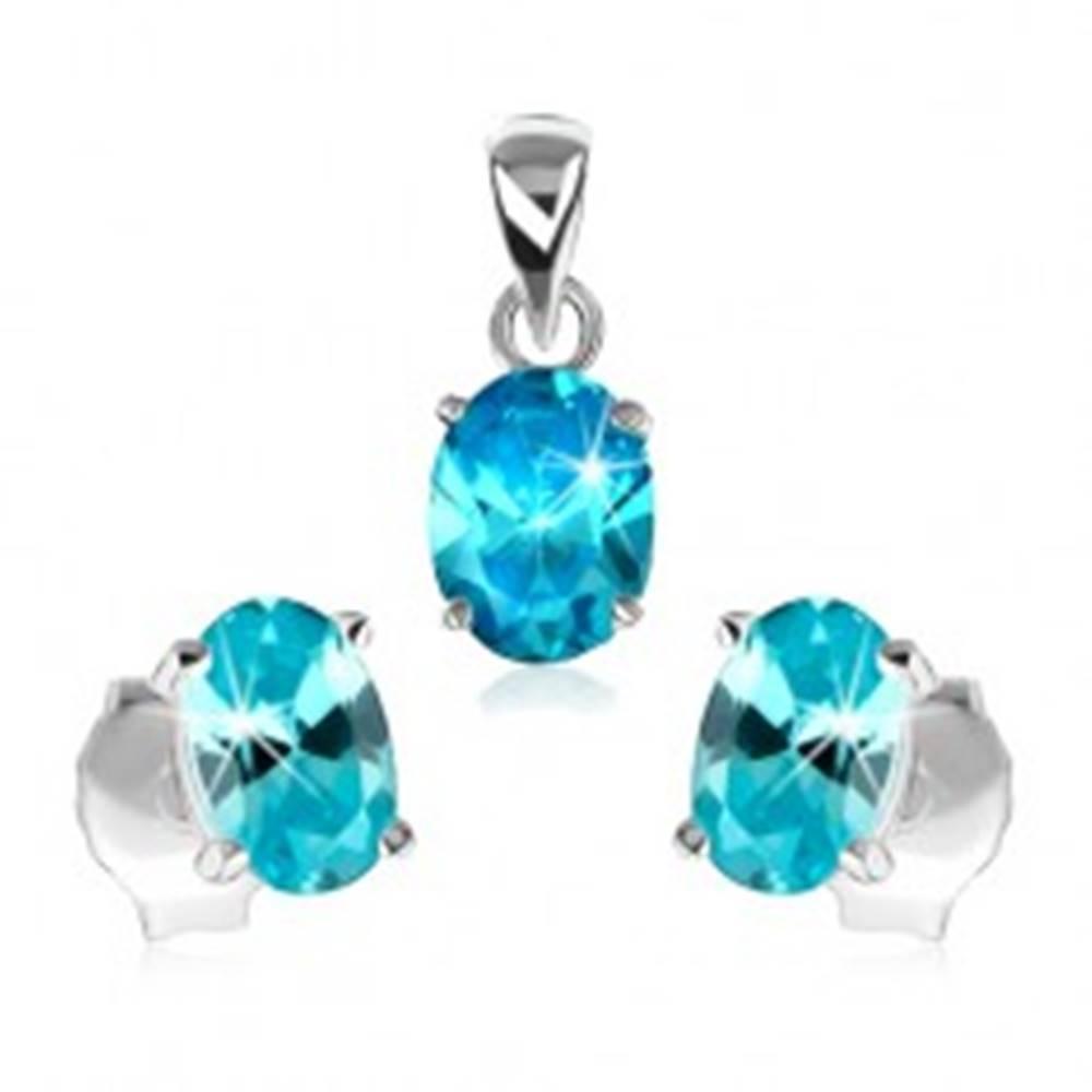 Šperky eshop Strieborná sada 925 - prívesok a náušnice, svetlomodrý zirkónový ovál
