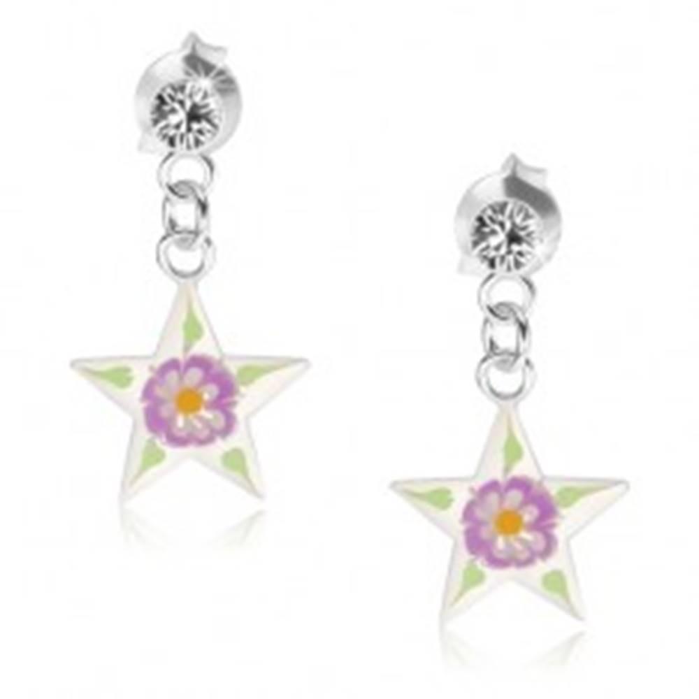 Šperky eshop Strieborné náušnice 925, hviezda s priehľadnou glazúrou, farebný kvietok