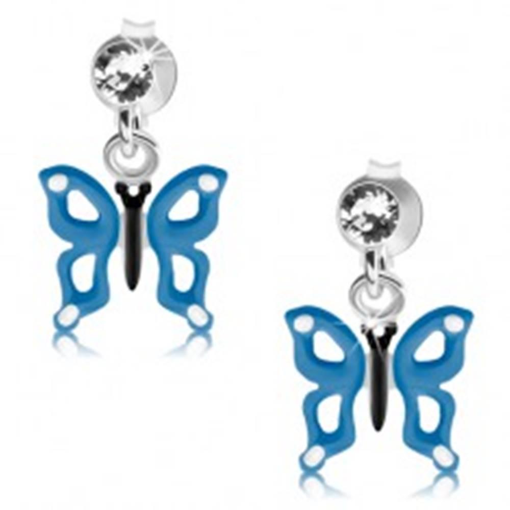 Šperky eshop Strieborné náušnice 925, modro-biely motýlik s výrezmi na krídlach, krištáľ