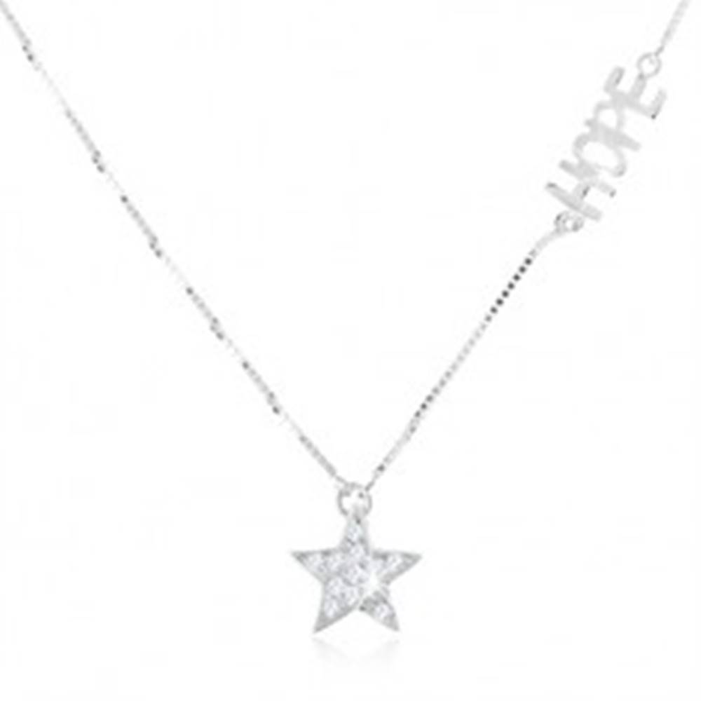 """Šperky eshop Strieborný náhrdelník 925 - jemná retiazka, číra zirkónová hviezda, nápis """"HOPE"""""""
