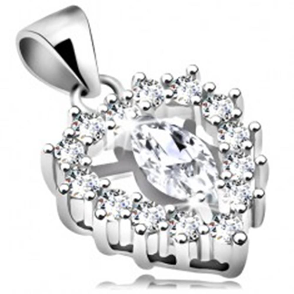 Šperky eshop Strieborný prívesok 925, číra ligotavá kontúra srdiečka s úzkym zrnkom v strede