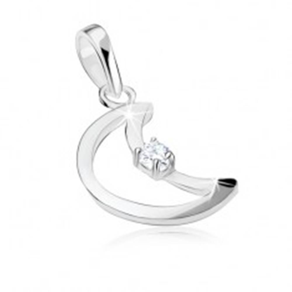 Šperky eshop Strieborný prívesok 925, lesklý obrys mesiaca, vložený číry zirkón