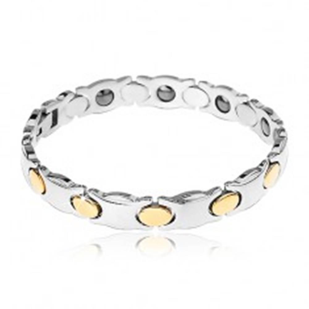 Šperky eshop Užší oceľový náramok, strieborná farba, ovály v zlatom odtieni, magnety