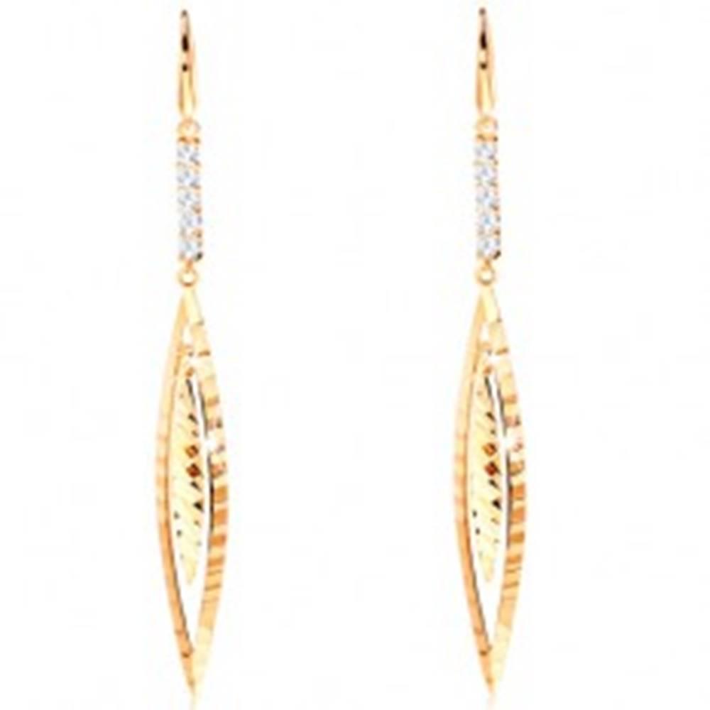 Šperky eshop Visiace náušnice zo žltého 14K zlata - línia čírych zirkónov, úzke zrnko