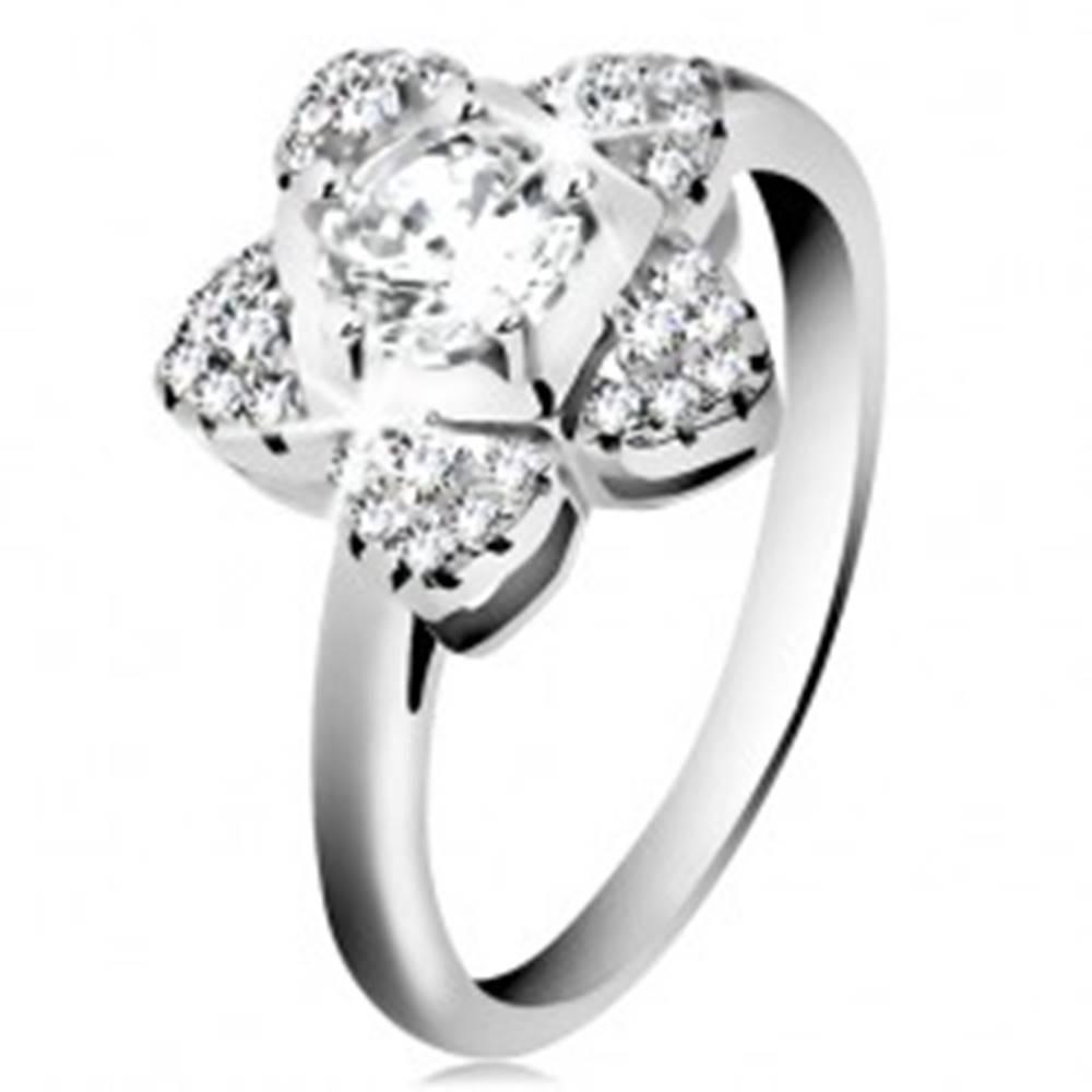 Šperky eshop Zásnubný prsteň, striebro 925, ligotavý zirkónový kvietok čírej farby - Veľkosť: 46 mm
