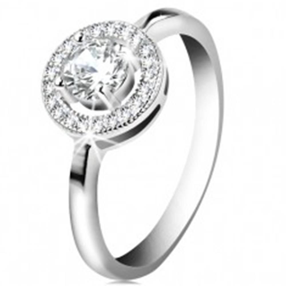 Šperky eshop Zásnubný prsteň zo striebra 925, okrúhly číry zirkón v ligotavej obruči - Veľkosť: 51 mm
