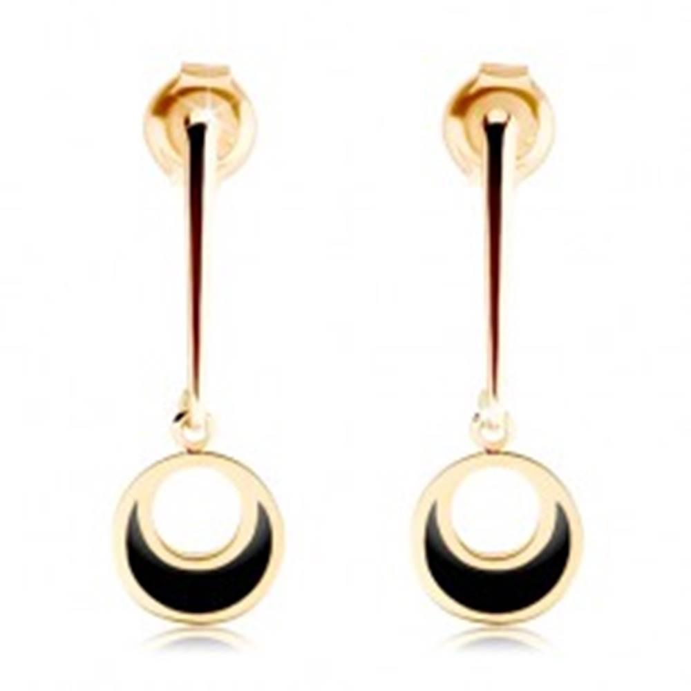 Šperky eshop Zlaté náušnice 585 - kruh visiaci na rovnej paličke, výrez, čierna glazúra