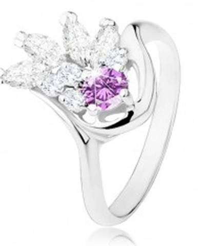 Prsteň v striebornom odtieni, fialový zirkón, číry zirkónový vejárik R31.25 - Veľkosť: 54 mm