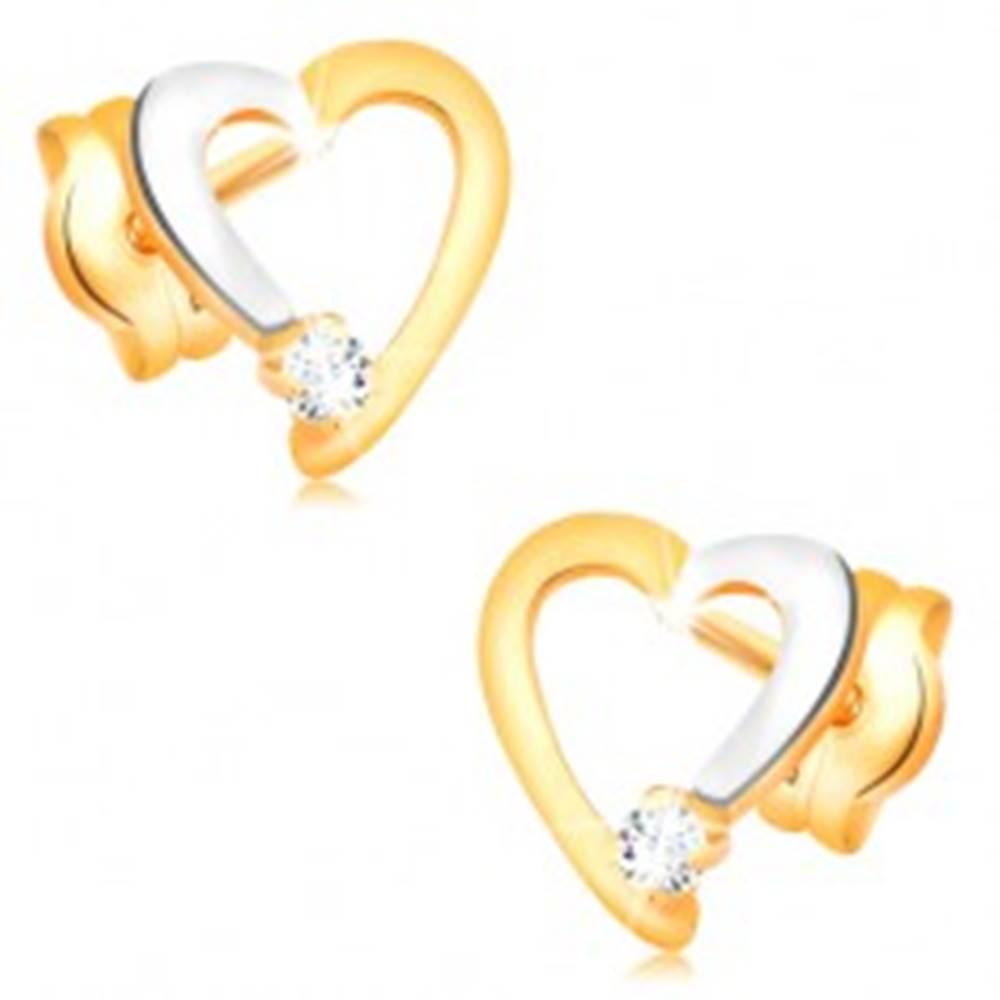Šperky eshop Briliantové náušnice v 14K zlate - obrys srdiečka s čírym diamantom