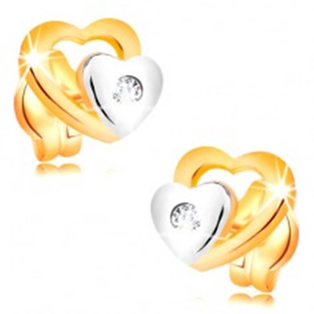 Šperky eshop Briliantové náušnice zo 14K zlata - dve srdiečka a brúsený číry diamant