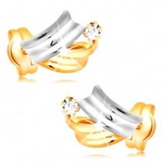 Briliantové zlaté náušnice 14K - lesklé dvojfarebné oblúky, číry okrúhly diamant