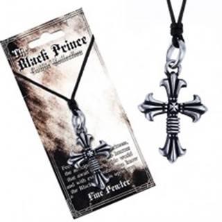 Čierna šnúrka na krk a kovový prívesok, zdvojený kríž, ľaliové cípy