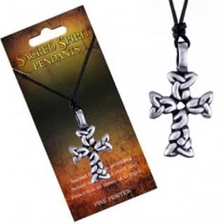 Čierny náhrdelník – šnúrka, prívesok kríža zo spletených oválov