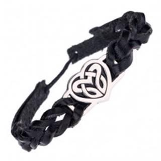 Čierny náramok a kovová známka so srdcovým keltským uzlom
