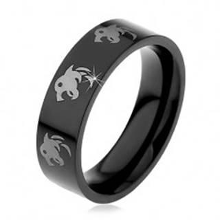 Čierny prsteň z chirurgickej ocele - vlk - Veľkosť: 48 mm