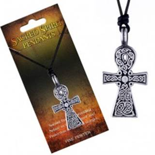 Čierny šnúrkový náhrdelník, prívesok kríža Sacred Spirit, keltské uzly