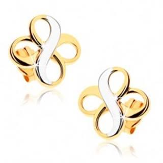 """Dvojfarebné náušnice z 9K zlata - dva symboly """"INFINITY"""", ródiované"""