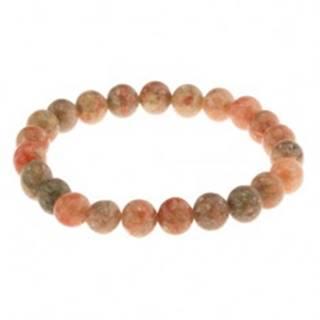 Elastický náramok, korálky z prírodného kameňa, zelené a oranžové odtiene