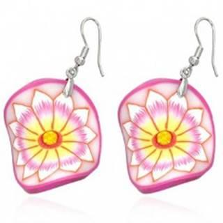 Fimo náušnice - ružový zvlnený kruh, kvet so žltým stredom