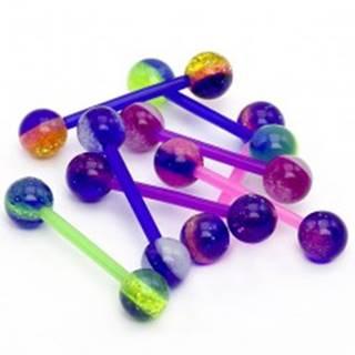 Guľôčkový piercing do jazyka - farebné pásiky, glitre - Farba piercing: Biela - Modrá