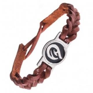 Kožený náramok - karamelovo hnedý, pletený, TRIBAL ornament