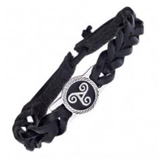 Kožený náramok na ruku - čierny pletenec, kovová známka, špirály