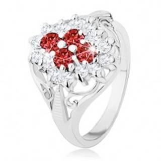 Lesklý prsteň s rozdelenými ramenami, červeno-číry zirkónový kvet - Veľkosť: 49 mm