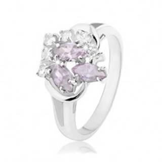 Ligotavý prsteň s rozdvojenými ramenami, svetlofialové zrnká, číre zirkóniky - Veľkosť: 49 mm