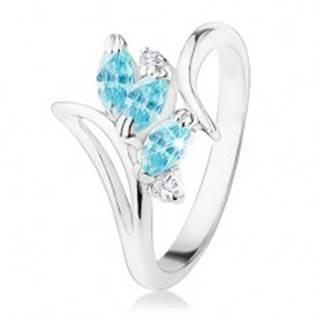 Ligotavý prsteň so zahnutými ramenami, modré brúsené zrnká, číre zirkóniky - Veľkosť: 50 mm