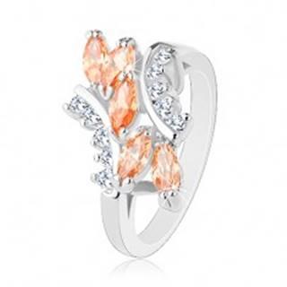 Ligotavý prsteň v striebornom odtieni, oranžové zrnká, číre zirkóniky - Veľkosť: 57 mm