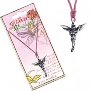 Náhrdelník - ružová šnúrka, kovový prívesok, lesná víla
