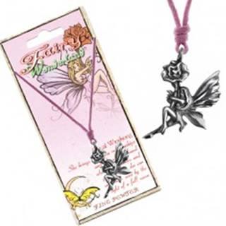 Náhrdelník - ružová šnúrka, kovový prívesok víly na kvete