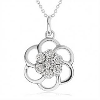 Náhrdelník zo striebra 925 - obrys kvetu zdobený čírymi kamienkami, retiazka