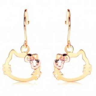 Náušnice zo 14K zlata - kontúra hlavy mačky s mašľou z ružového zlata