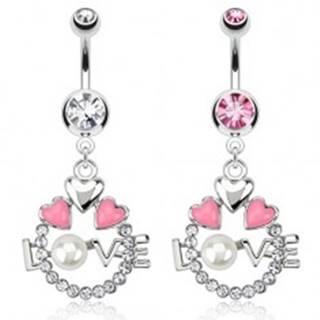 Oceľový piercing do pupku - kruh, srdcia, nápis LOVE s perlou - Farba zirkónu: Číra - C