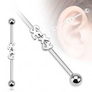Oceľový piercing do ucha - činka s nápisom SEXY a guľôčkami
